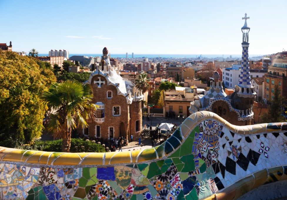 View of Park Guell in winter. Barcelona, Spain.    Now it is city park